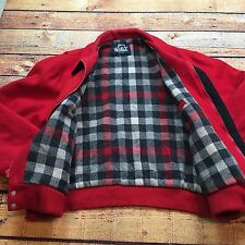 VTG WOOLRICH Made USA Hunting BUFFALO Red L JACKET Mackinaw Plaid Lined Wool