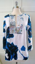 NWT Tory Burch 'Dulce' Linen Top with Mirror Trim Size 4 $425