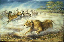 KIM BROOKS,Wildlife artist,Elsa Lioness&Impala,Taxidermy,oil,signed,$43250