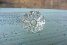 DAISY FLOWER = Small Clear Crystal GLASS Knob = Shabby Chic = Drawer Pull