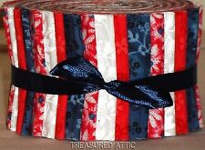 "20~Jelly Roll Fabric Strips Quilting Red White Blue Floral 2.5""Cotton Patriotic"