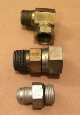 "Mixed Lot of 3 Steel Air Fittings Swivel Elbow Female Flare Connector 1"" 1/2"""