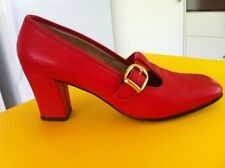 Ladies Vintage Red Leather Heels AUS Size 5 B EU 36 BEDGGOOD Gold Buckle 50's 60