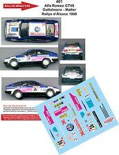 DÉCALS 1/18 réf 401 Alfa Romeo GTV6 Gottelmans - Matter Rallye d'Alsace 1998