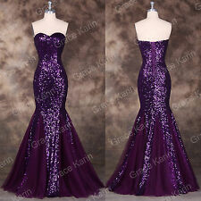 Purple Long Sequins Cocktail Party Formal Evening Ball Prom Dresses Wedding Gown