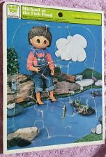 "Retro 1978 WHITMAN FRAME-TRAY PUZZLE ""MICHAEL AT THE FISH POND"" CHILDREN'S GAME"