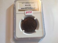 1871 Great Britain Penny Ngc Ms 62 Brown
