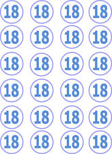 18th Birthday Boy Blue Edible Cupcake / Fairy Cake Wafer Paper Toppers x 24