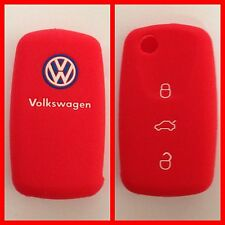 VW Volkswagen RED CAR KEY COVER CASE POLO GOLF PASSAT JETTA BEETLE EOS TOURAN