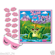1 Girls PRINCESS Birthday Party Game PIN THE KISS ON THE FROG for 12 Guests