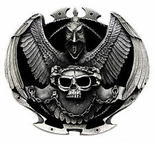 Skull Belt Buckle Raven Lord Gothic Authentic Dragon Designs Branded Product
