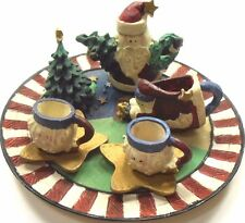 Tea Set Mini Resin 10 Piece Miniature Santa Christmas Trees Gold Stars