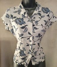 Blue Floral Print Linen Casual Blouse Top, Size 10, DASH