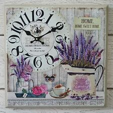 Wooden Wall Clock on French Lavender Vintage Box Canvas Print Home Sweet Home