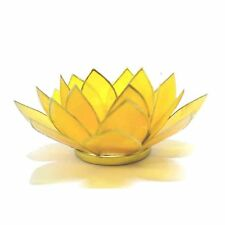 Yellow with Gold Trim Lotus Flower 3rd Chakra Tea Light Candle Holder & Candle