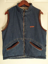 Wrangler Hero Denim Vest -- Mens M -- Sherpa Lining, Corduroy Collar & Trim