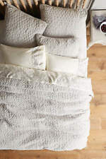 NEW ANTHROPOLOGIE MINAMI QUEEN VELVET COVERLET LIGHT GREY + 2 EURO PILLOW SHAMS