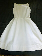Vintage Fitted White WAFFLE Textured Cotton XS summer DRESS 50s 60s Wiggle