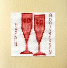 "40th Ruby Glasses Wedding Anniversary Card Cross Stitch Kit 5.5""x5.5"" 14 Count"