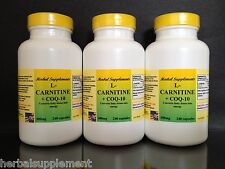 L-Carnitine 600mg + Coq-10, Amino Acid, energy,Made in USA ~ 720 (3x240)capsules