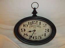 KENSINGTON STATION LONDON 1879 OVAL WALL CLOCK METAL FRAME WITH GLASS FRONT EUC!