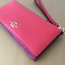 NWT Coach 53759 Carmine Dahlia Red Colorblock Leather Slim Wallet Phone Wristlet