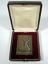 Rare bronze medal plaque 1906 JO Olympic Games Athens by Vannier signed in box