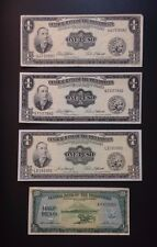 1949 Philippines 1 Peso Notes & Philippine 50 Centavos Note. 4 Banknotes