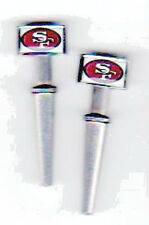 2- S. F. 49'ers Metal Cribbage Pegs, Stainless Steel, USA, FREE Velvet Pouch