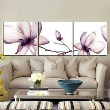 Triple Flower Painting Canvas Study Room Restaurant Frameless Poster Decoration