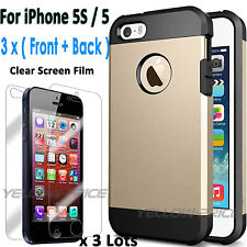 iPhone 5S Case,[Drop Protection] Dual Layer Armor Case+ 3x LCD HQ full body Film