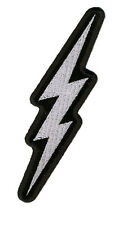 Silver METALLIC Lightening Bolt  Biker Mc 5  inch Biker Patch