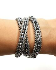 Crystal Beads with Silver Color Plated 3 Wrap Bracelet
