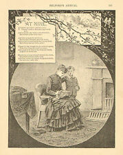Mother, And Child, Verse, Boy, 9yrs. Old, Vintage, 1889 Antique, Art, Print,