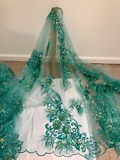 "SEA GREEN EMBROIDERY SEQUINS RHINESTONE MESH LACE FABRIC 50"" 1 YD"