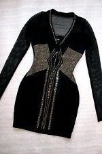 NWT Bebe Dress black gold stud v mesh back cutout long sleeve top XS 0 2 luxurys