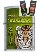 Zippo 1188 year of the tiger chrome Lighter with *FLINT & WICK GIFT SET*