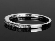 14K Solid White Gold Real White Diamonds Engagement Half Eternity Band Ring
