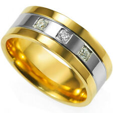Size 7-15 Stainless Steel Ring Men Gold Plated Cubic Zirconia Wedding Enagement