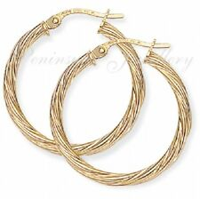 9ct Gold 24mm Twisted Hoop Creole earrings Gift Boxed