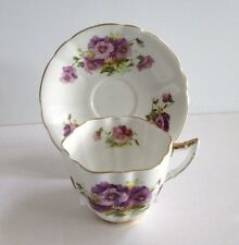 Society England Bone China Tea Cup Saucer Gold Rim Purple Violets or Pansey