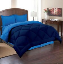 Queen Size Reversible Comforter Set 3 Piece Bed in a Bag Bedding Bedspread Blue