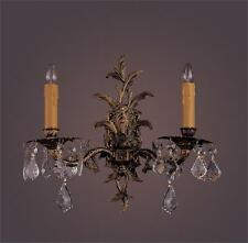 Antique Classic French Brass Solid Brass 2 Light Crystal Chandelier WALL Light