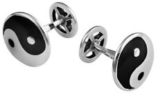 YIN AND YANG ENAMEL CUFFLINKS STERLING SILVER HALLMARKED NEW FROM ARI D NORMAN