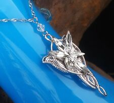 Elegant Womens LOTR 18K White Gold Plated Arwen Evenstar Pendant With Chain