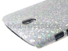 Silver Sparkling Glitter Back Case Cover for HTC Desire 500 + Screen Protector