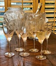 6 Lalique Angel Champagne Flutes Signed Mint (Ange) Retail $3150 Gift Boxed