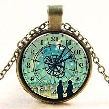 Vintage Compass watch Cabochon Bronze Glass Chain Pendant Necklace #22@