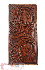 Western Bi-Fold Men's Long Rodeo Wallet Genuine Hand Tooled Leather Floral Brown