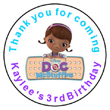 24 Doc Mcstuffins Birthday Favor Label Stickers Personalized for YOU 1.67""